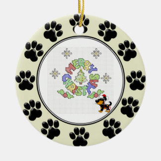 子犬によるメリークリスマスの十字のステッチ セラミックオーナメント