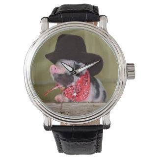 子犬のカウボーイの赤ん坊のコブタの家畜の赤ん坊 腕時計