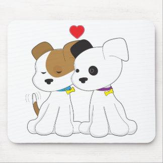 子犬のカップル マウスパッド