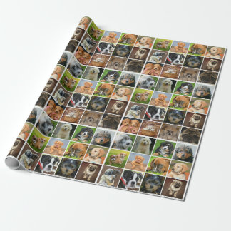 """子犬のコラージュの無光沢の包装紙、30"""" x 6' ラッピングペーパー"""