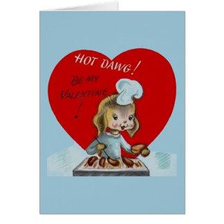 子犬のバレンタインデーカードを焼くヴィンテージ カード