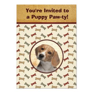 子犬のパーティー犬のイベントカスタムなペット写真 12.7 X 17.8 インビテーションカード