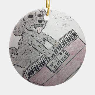子犬のピアノ セラミックオーナメント