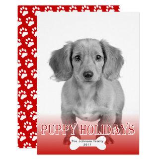 子犬の休日の骨赤いペットクリスマスの写真 12.7 X 17.8 インビテーションカード