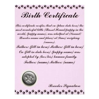 子犬の出生証明書 レターヘッド
