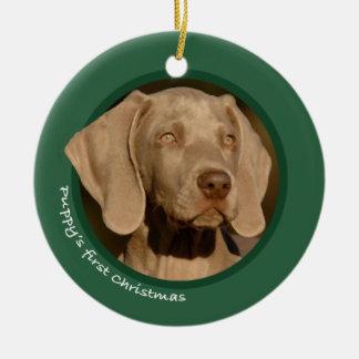 子犬の初めてのクリスマス(Weimaraner) セラミックオーナメント