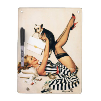 子犬の恋人Pinの女の子-レトロのピンナップの芸術 ドライイレースボード