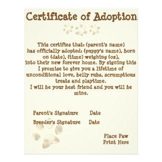 子犬の採用の証明書 レターヘッド