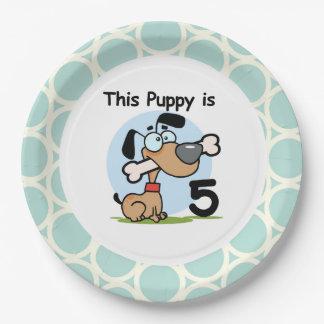 子犬の第5誕生日の紙皿 ペーパープレート