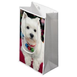 子犬の首の身に着けているクリスマス鐘 スモールペーパーバッグ