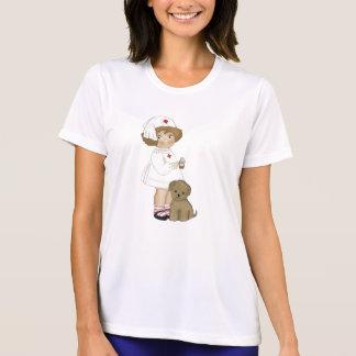 子犬のTシャツおよびギフトを持つヴィンテージのナース Tシャツ
