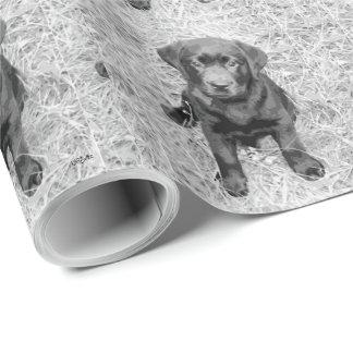 子犬(白黒) ラッピングペーパー