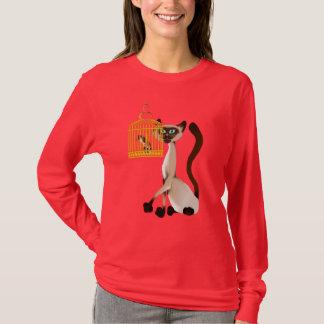 子猫および鳥のワイシャツ Tシャツ