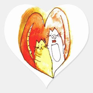 子猫のカップル ハートシール