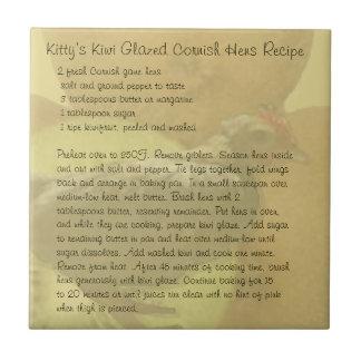 子猫のキーウィによって艶をかけられるコーニッシュの雌鶏のレシピ タイル