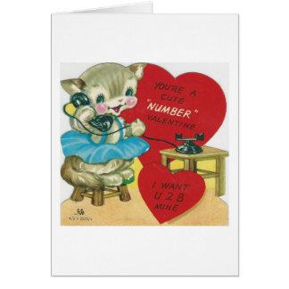 子猫のバレンタインを電話するヴィンテージ カード