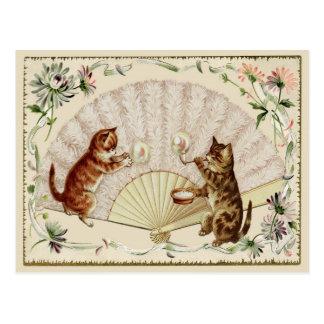 子猫の泡及びファンのヴィンテージの再生の郵便はがき ポストカード