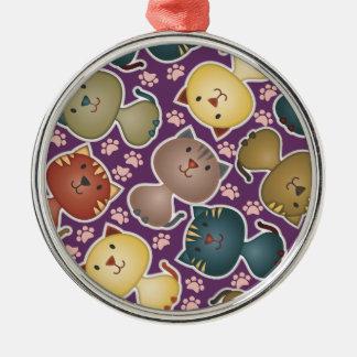 子猫のKatsの紫色の優れた円形のオーナメント メタルオーナメント