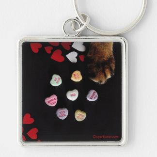 子猫キャンデーのハート愛Keychain キーホルダー