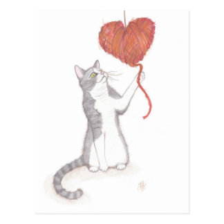 子猫及びヤーンのハートのバレンタイン ポストカード
