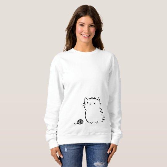 子猫及びヤーン スウェットシャツ