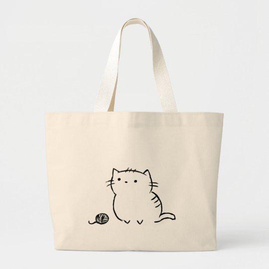 子猫及びヤーン ラージトートバッグ