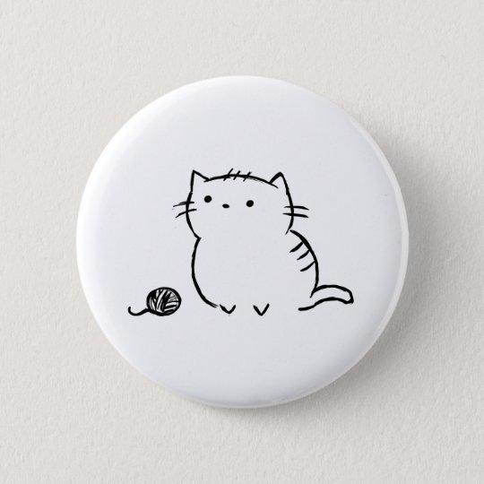 子猫及びヤーン 5.7CM 丸型バッジ