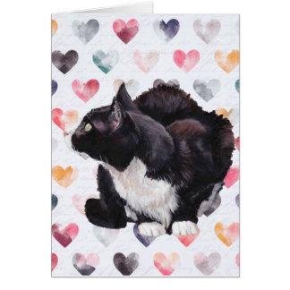 子猫愛タキシード猫の芸術の挨拶状 カード