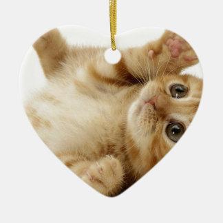 子猫猫のかわいい項目 陶器製ハート型オーナメント