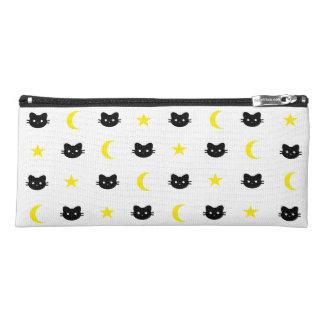 子猫猫の月および星の筆箱 ペンシルケース