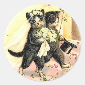 子猫猫の結婚式 ラウンドシール