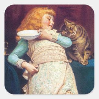 子猫猫愛-ヴィンテージ猫の芸術 スクエアシール