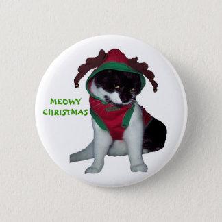 子猫CATのクリスマスボタン 5.7CM 丸型バッジ