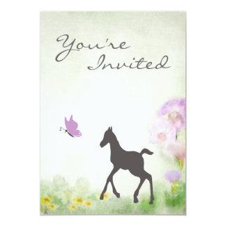 子馬および蝶馬のベビーシャワーの招待状 12.7 X 17.8 インビテーションカード