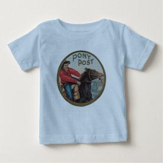 子馬のポストの乳児Tの青 ベビーTシャツ