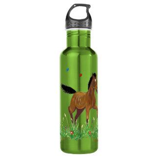 子馬及び蝶乗馬の自由のボトル ウォーターボトル