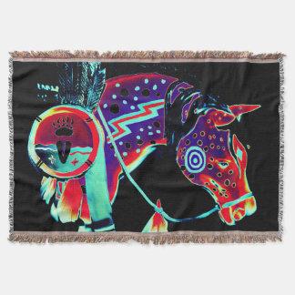 """""""子馬""""のデザインのブランケットは絵を描きました スローブランケット"""