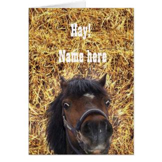 子馬、干し草! 私をカスタマイズ グリーティングカード