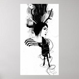 子鹿との自画像 ポスター