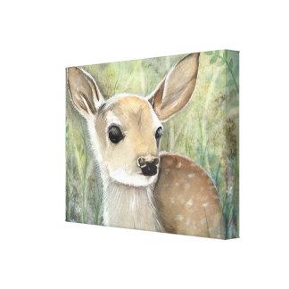 子鹿のベビーのシカの野性生物の絵画 キャンバスプリント
