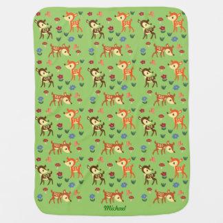 子鹿の緑毛布 ベビー ブランケット