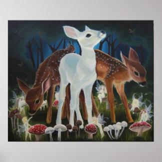 子鹿のFaeryのリングのファンタジーのバックラムのプリント ポスター