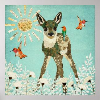 子鹿及びハチドリポスター ポスター