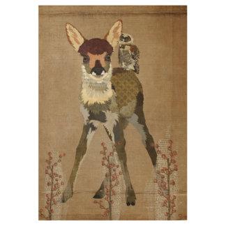 子鹿及びフクロウの花柄ポスター ウッドポスター