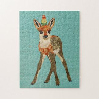 子鹿及び小さい鳥のパズル パズル