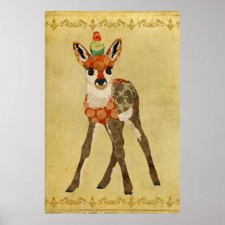 子鹿及び小さい鳥の芸術ポスター ポスター