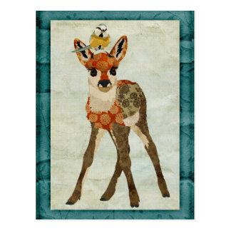 子鹿及び小さい鳥の郵便はがき ポストカード