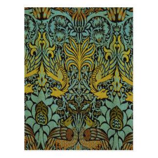 孔雀およびドラゴンのウィリアム・モリスのタペストリーのデザイン ポストカード