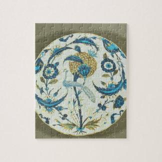 孔雀と絵を描かれたIznikの皿はflの中でとまりました ジグソーパズル
