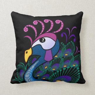 孔雀のアクセントの枕 クッション